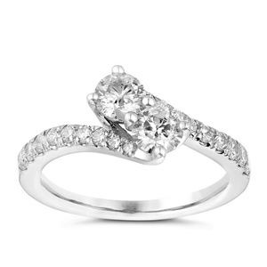 Ever Us 14K White Gold 2 Stone Twist Diamond Ring